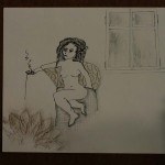 Woman Smoking Alone at Home (9 x 12 inch)